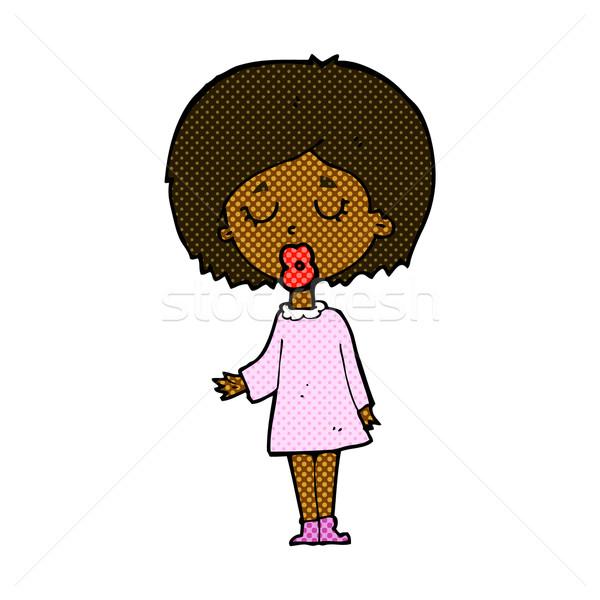 Képregény rajz nő magyaráz pont retro Stock fotó © lineartestpilot