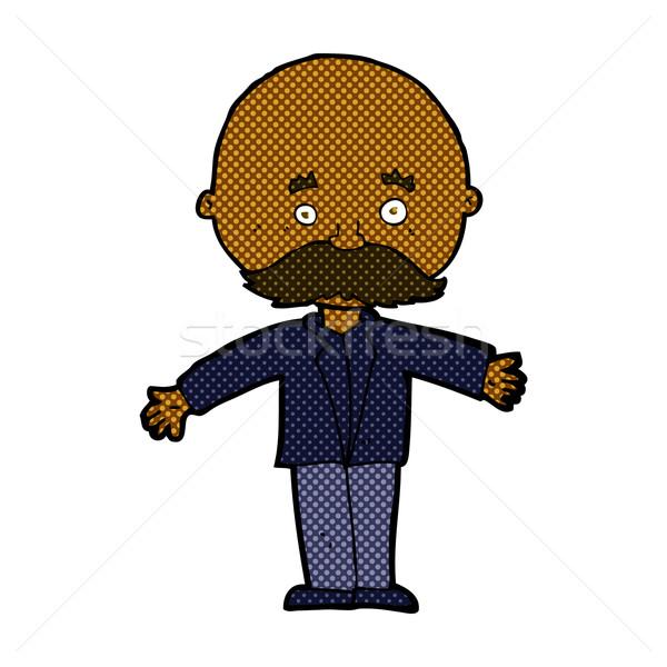 Dessinées cartoon chauve homme ouvrir bras Photo stock © lineartestpilot