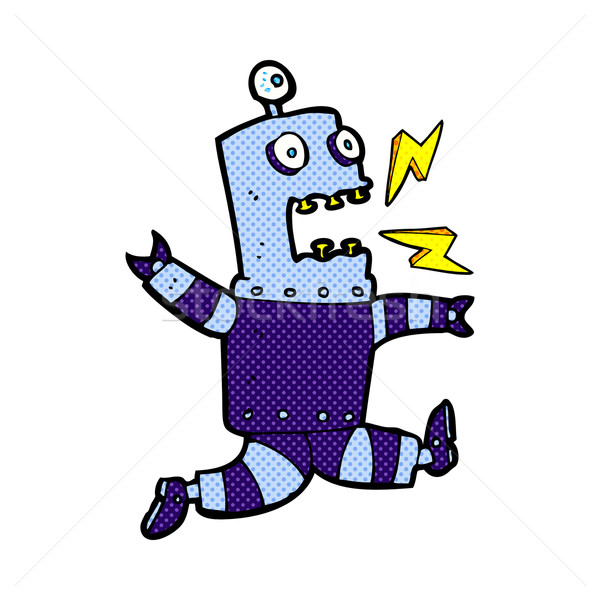 комического Cartoon испуганный робота ретро Сток-фото © lineartestpilot