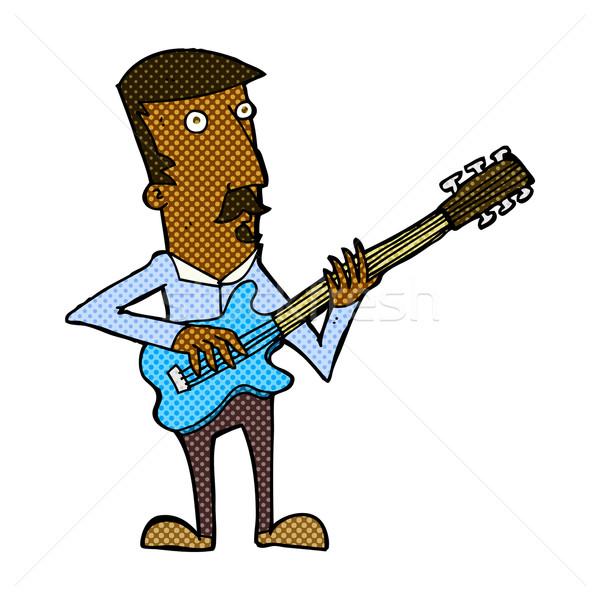 comic cartoon man playing electric guitar Stock photo © lineartestpilot