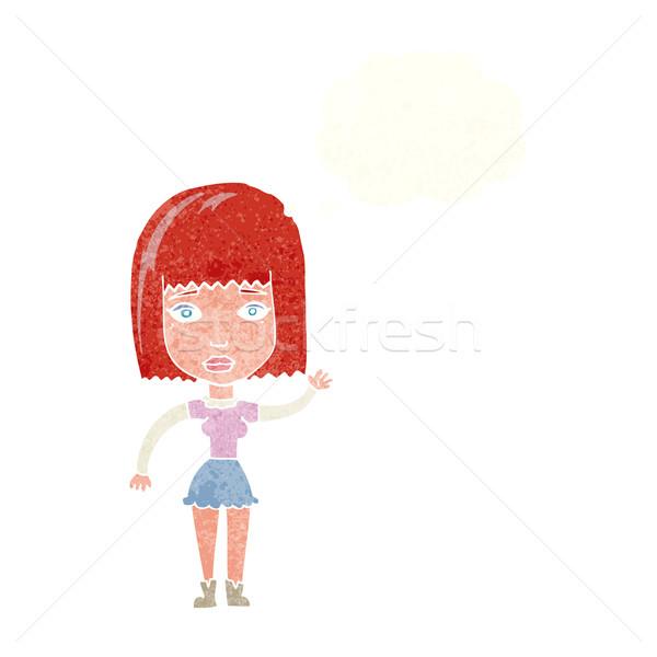 Rajz integet nő gondolatbuborék kéz terv Stock fotó © lineartestpilot