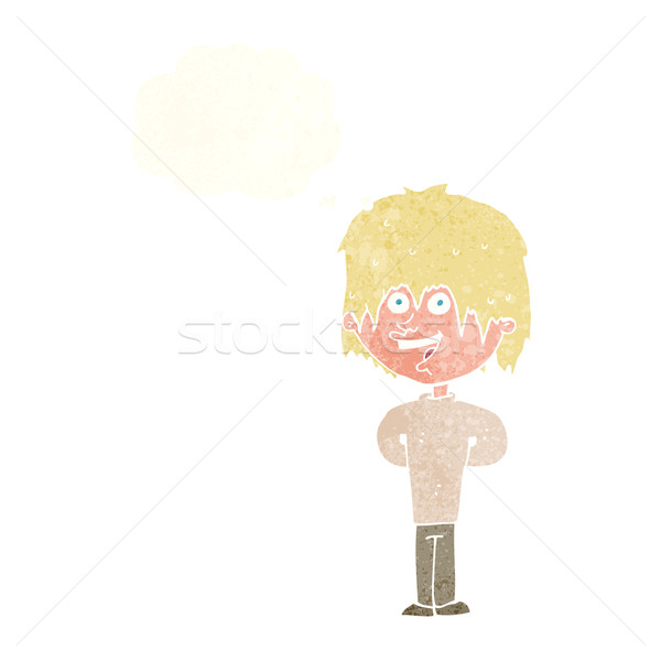 cartoon happy scruffy boy with thought bubble Stock photo © lineartestpilot