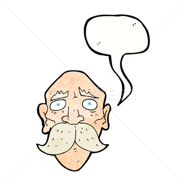 cartoon sad old man with speech bubble Stock photo © lineartestpilot