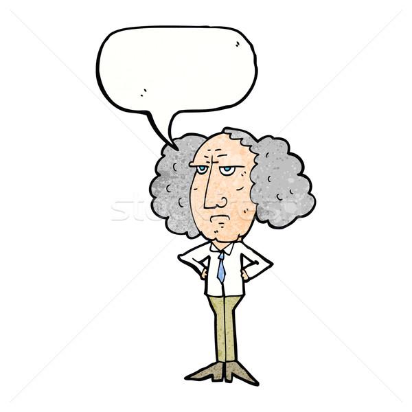 Cartoon duży włosy wykładowca człowiek dymka Zdjęcia stock © lineartestpilot