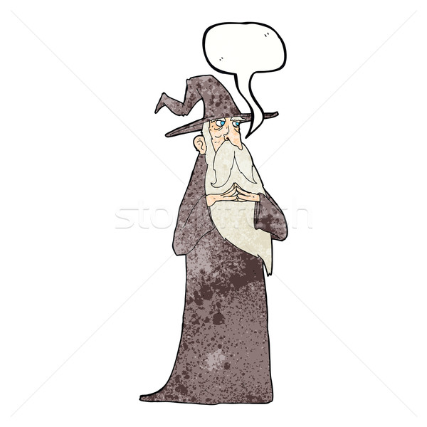 cartoon old wizard with speech bubble Stock photo © lineartestpilot