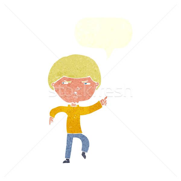 Cartoon agacé homme bulle main design Photo stock © lineartestpilot