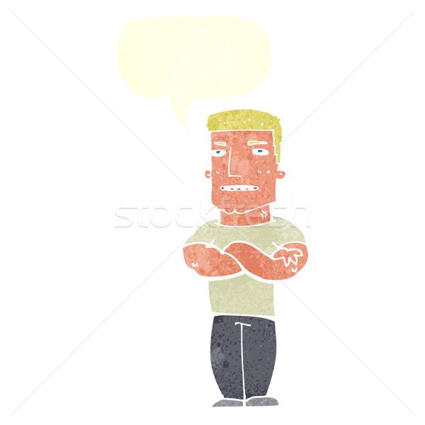 Karikatür sert adam katlanmış silah konuşma balonu Stok fotoğraf © lineartestpilot
