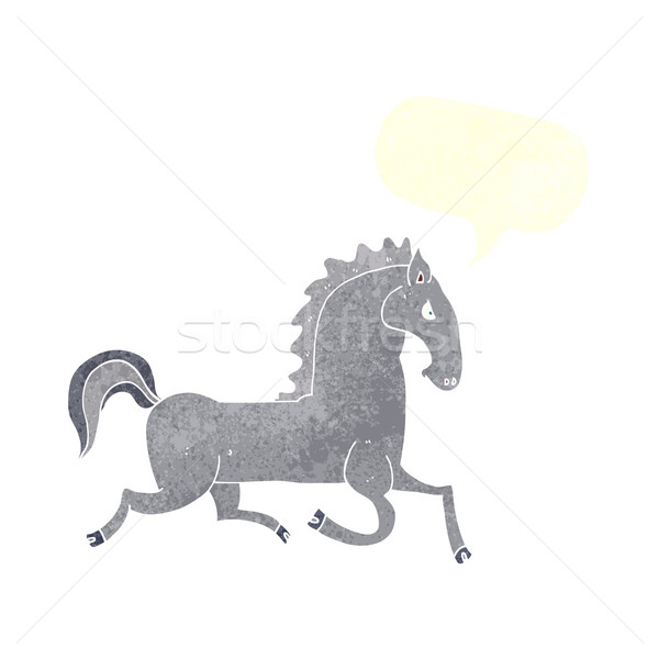 cartoon running black stallion with speech bubble Stock photo © lineartestpilot