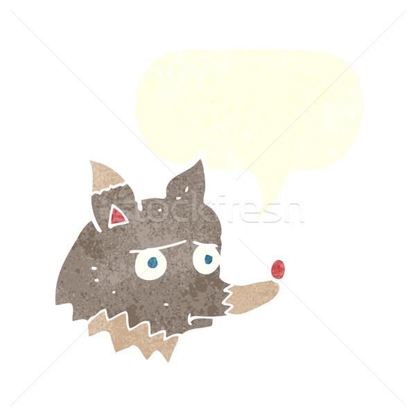 Cartoon несчастный волка речи пузырь стороны собака Сток-фото © lineartestpilot