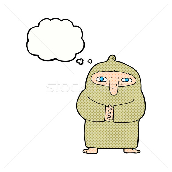 Cartoon moine robe bulle de pensée main design Photo stock © lineartestpilot