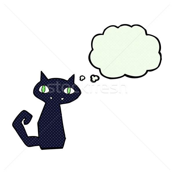 Rajz fekete macska gondolatbuborék kéz terv művészet Stock fotó © lineartestpilot