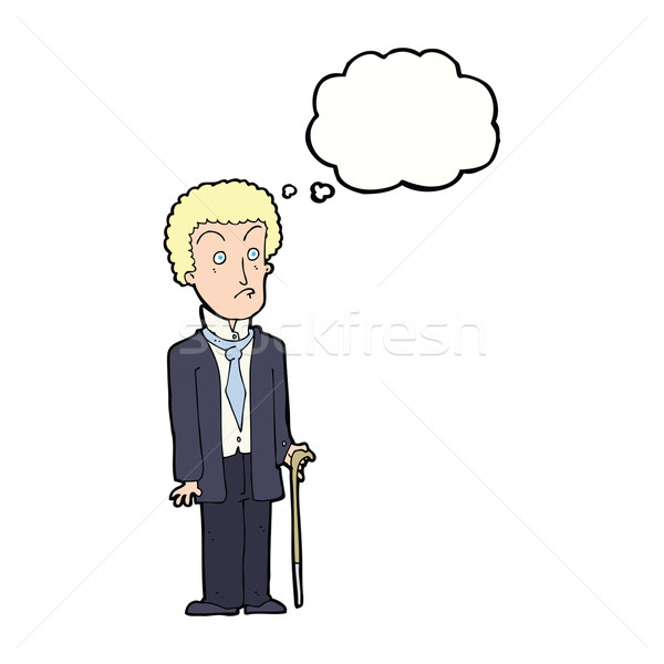 Karikatür mutsuz beyefendi düşünce balonu el adam Stok fotoğraf © lineartestpilot
