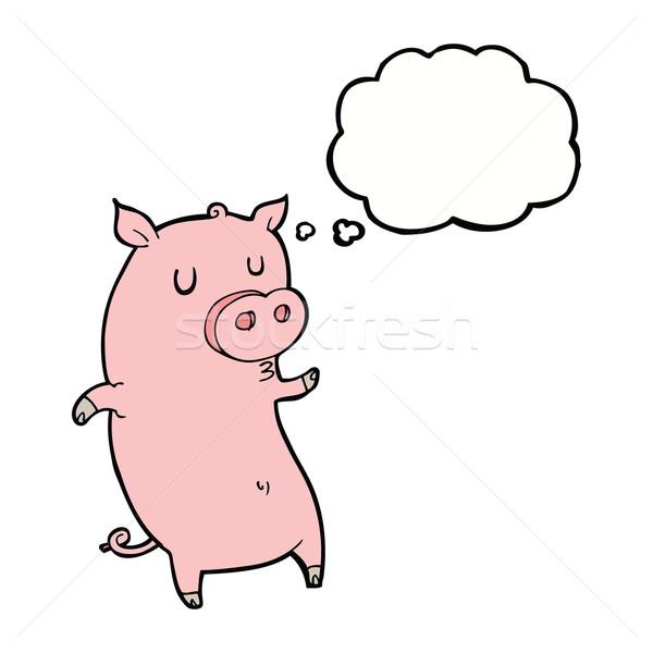 Komik karikatür domuz düşünce balonu el dizayn Stok fotoğraf © lineartestpilot