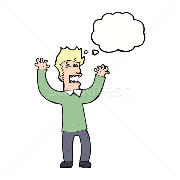 Cartoon przerażony człowiek bubble myśl strony projektu Zdjęcia stock © lineartestpilot
