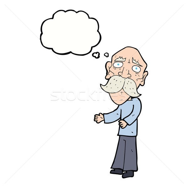 cartoon lonely old man with thought bubble Stock photo © lineartestpilot