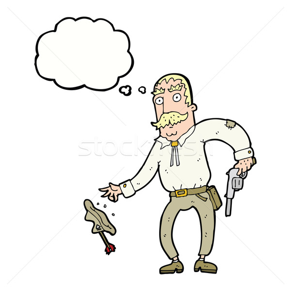 Cartoon oeste vaquero burbuja de pensamiento mano Foto stock © lineartestpilot