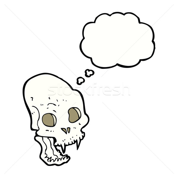 cartoon spooky vampire skull with thought bubble Stock photo © lineartestpilot