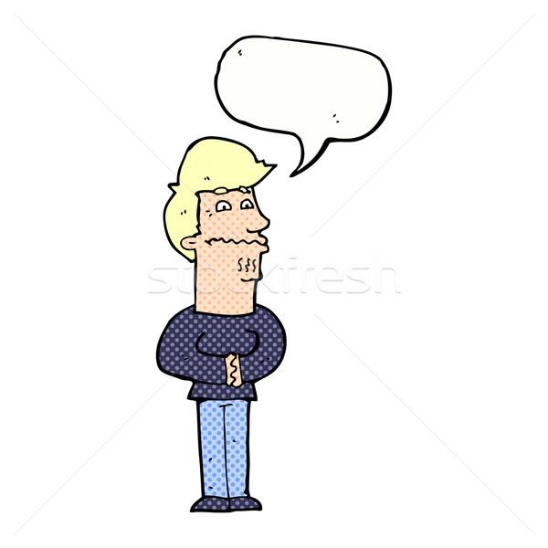 Cartoon nervioso hombre bocadillo mano diseno Foto stock © lineartestpilot