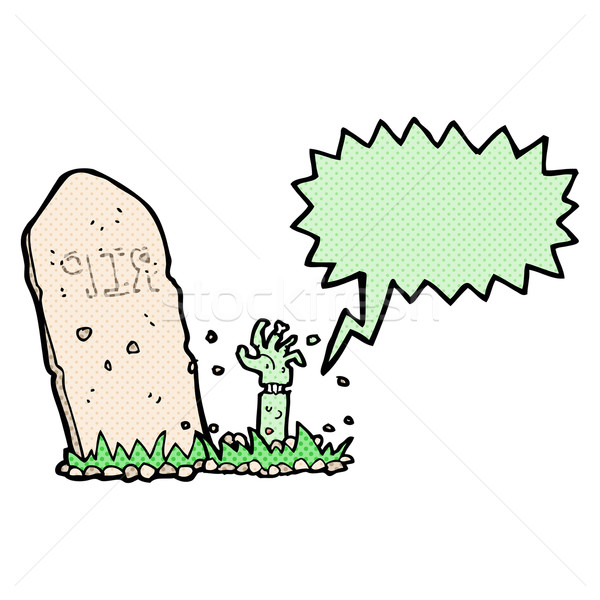 cartoon zombie rising from grave with speech bubble Stock photo © lineartestpilot