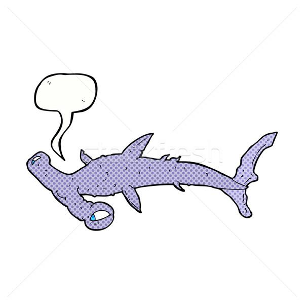 Desenho animado tubarão balão de fala mão projeto cabeça Foto stock © lineartestpilot