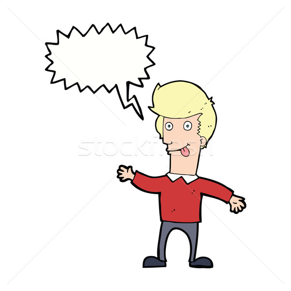 cartoon man sticking out tongue with speech bubble Stock photo © lineartestpilot