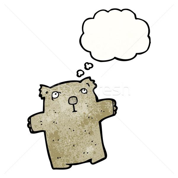 Cartoon wombat textuur hand gelukkig denken Stockfoto © lineartestpilot