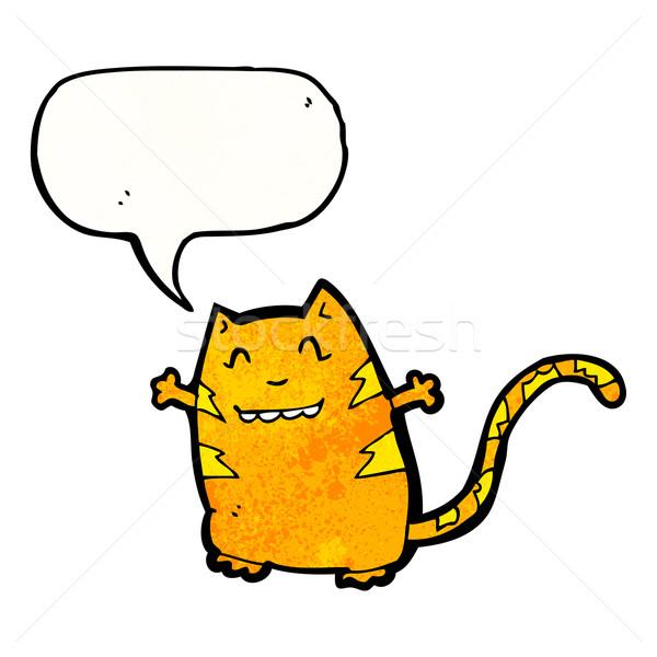 Desenho animado louco gato textura mão feliz Foto stock © lineartestpilot