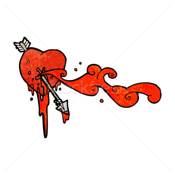 arrow shot though heart cartoon Stock photo © lineartestpilot