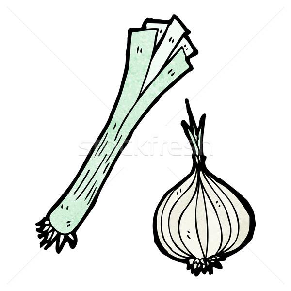 Puerro cebolla Cartoon textura alimentos mano Foto stock © lineartestpilot