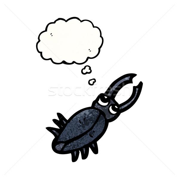 Desenho animado besouro falante retro pensando desenho Foto stock © lineartestpilot