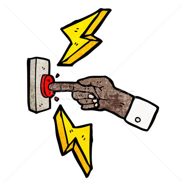 Cartoon doigt poussant bouton signe parler Photo stock © lineartestpilot
