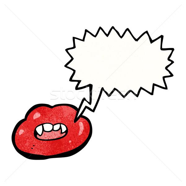 Lábios vermelhos balão de fala arte vermelho falante retro Foto stock © lineartestpilot