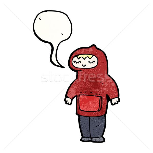 teenager in hooded sweatshirt cartoon Stock photo © lineartestpilot