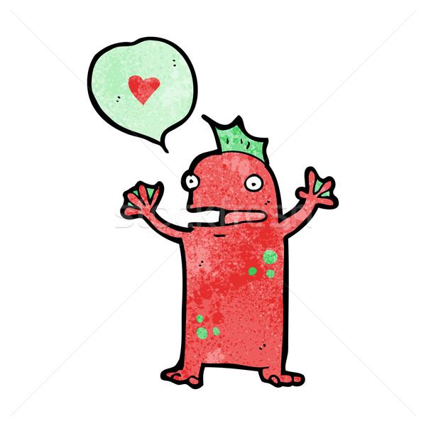 Cartoon weinig moeras monster liefde hart Stockfoto © lineartestpilot