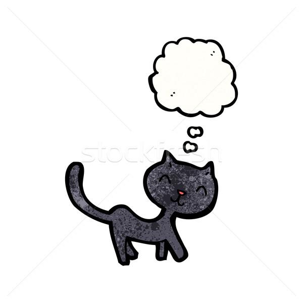 黒猫 漫画 猫 レトロな 図面 ストックフォト © lineartestpilot
