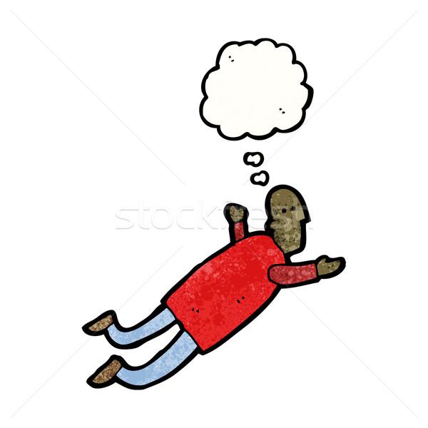 Cartoon homme battant rêve rétro dessin Photo stock © lineartestpilot