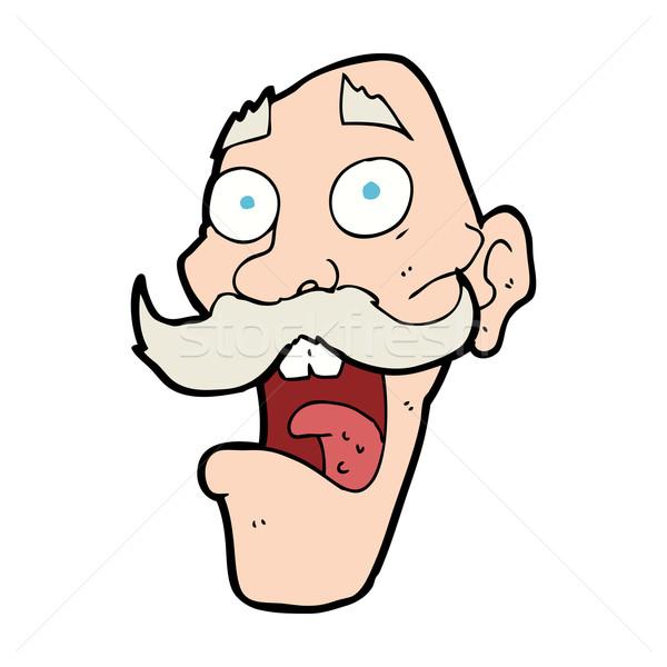 Cartoon asustado viejo hombre diseno arte Foto stock © lineartestpilot