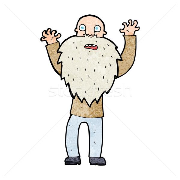 Cartoon bange oude man baard hand man Stockfoto © lineartestpilot