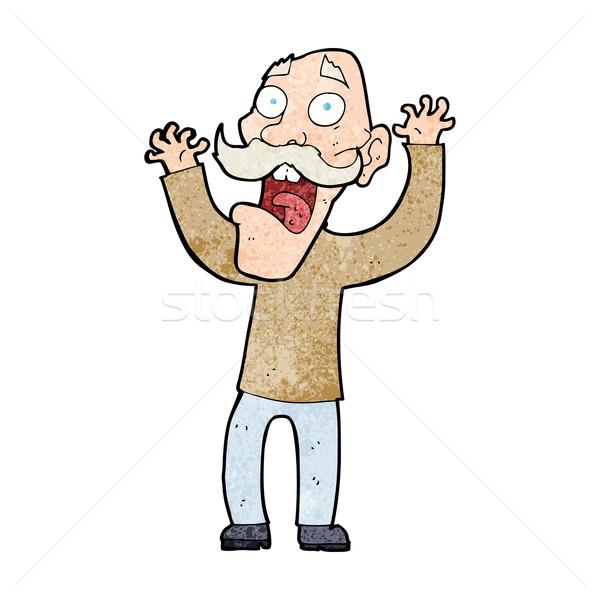 Cartoon старик испуг стороны человека дизайна Сток-фото © lineartestpilot