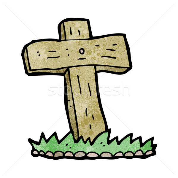cartoon wooden cross grave Stock photo © lineartestpilot