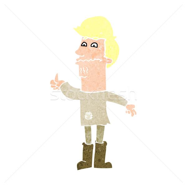 Desenho animado nervoso homem mão projeto roupa Foto stock © lineartestpilot