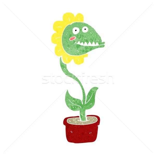 Foto stock: Desenho · animado · monstro · planta · mão · homem · projeto