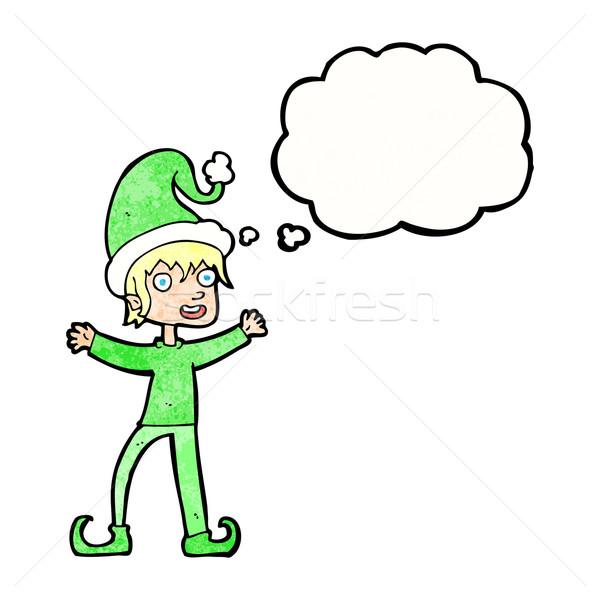 Cartoon возбужденный Рождества эльф мысли пузырь стороны Сток-фото © lineartestpilot