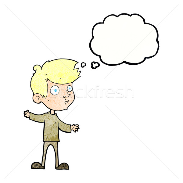 cartoon curious boy with thought bubble Stock photo © lineartestpilot