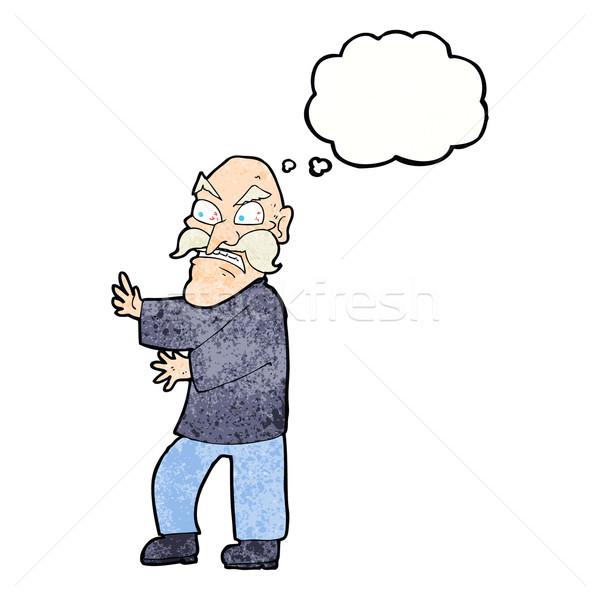 Cartoon сердиться старик мысли пузырь стороны человека Сток-фото © lineartestpilot