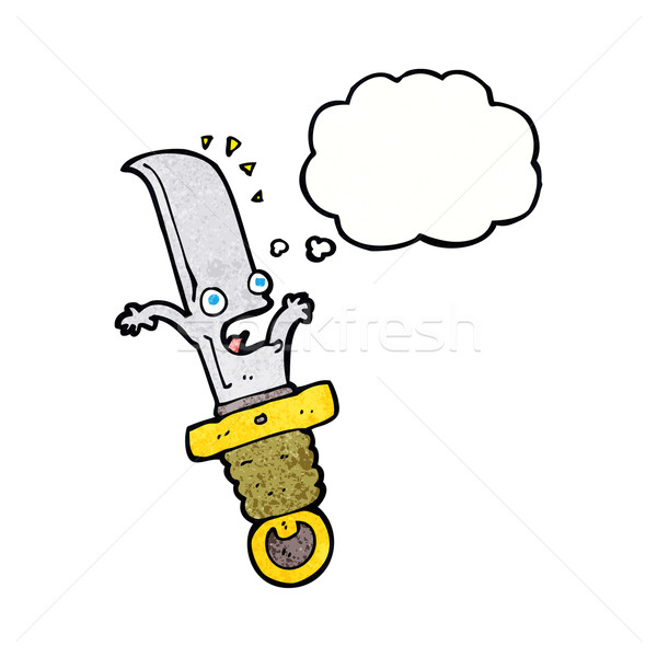cartoon frightened knife with thought bubble Stock photo © lineartestpilot