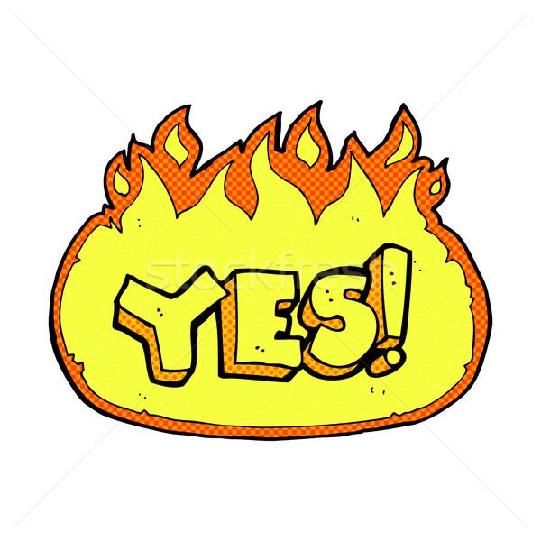 Komik karikatür yanan evet simge Retro Stok fotoğraf © lineartestpilot