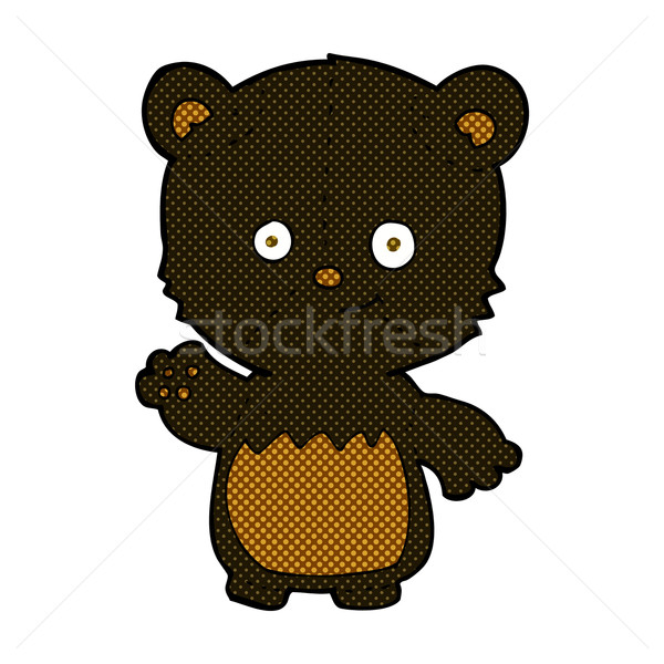 comic cartoon black bear cub waving Stock photo © lineartestpilot