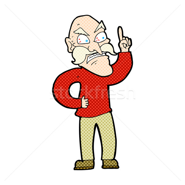 comic cartoon old man laying down rules Stock photo © lineartestpilot