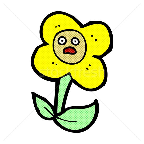 Komische cartoon bloem gezicht retro Stockfoto © lineartestpilot